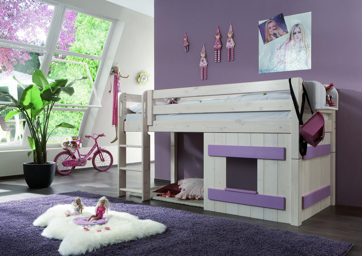 hochbett spielbett 90x200 mit deko element kiefer massiv weiss flieder. Black Bedroom Furniture Sets. Home Design Ideas