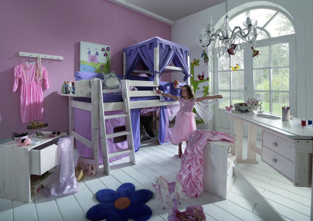 Vorhang Kinderzimmer Lila :  Spielbett 90×200 mit Vorhang rosa lila  Kiefer massiv weiß lasiert