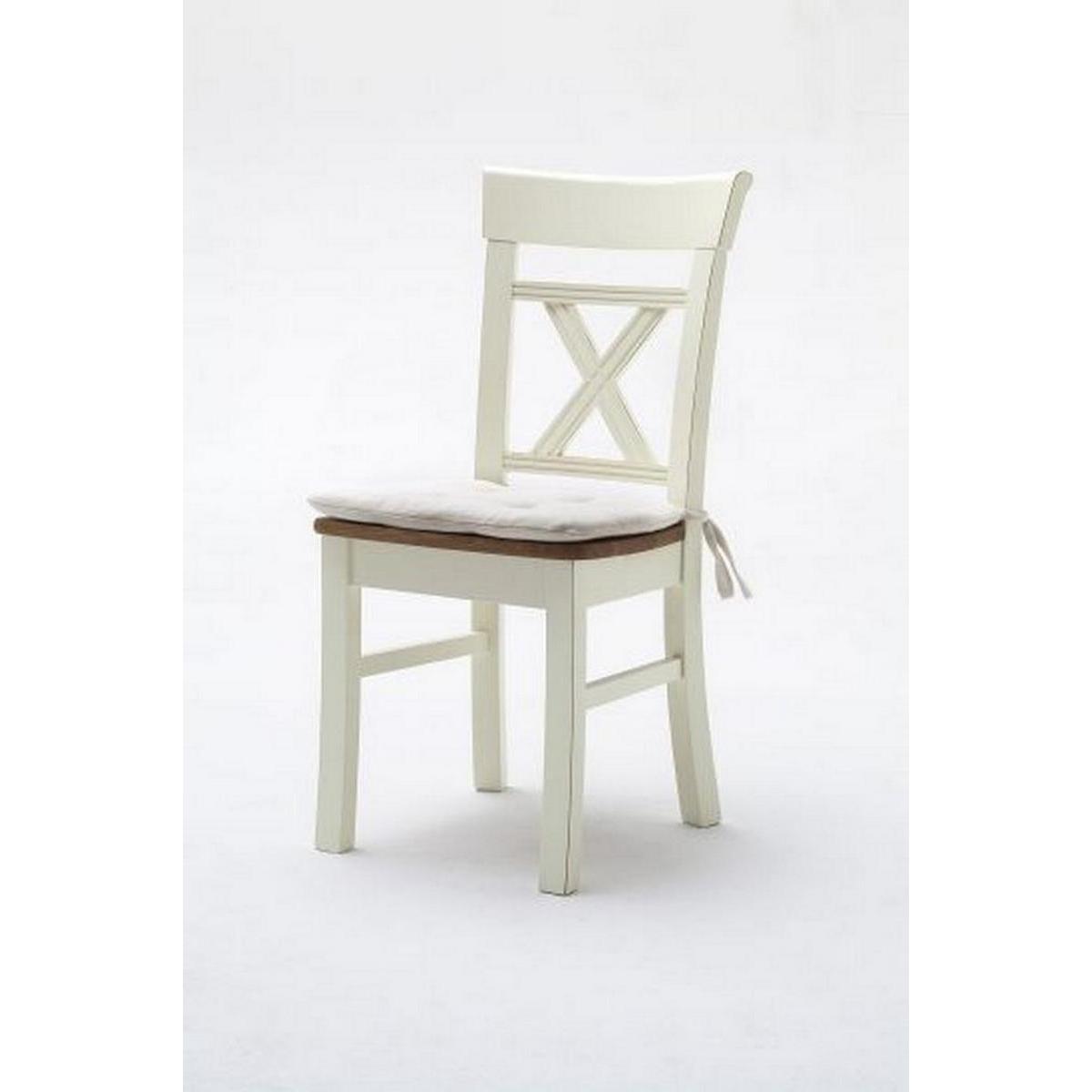 massivholz stuhl mit sitzkissen nordic home kiefer massiv wei lackiert wildeiche ge lt. Black Bedroom Furniture Sets. Home Design Ideas