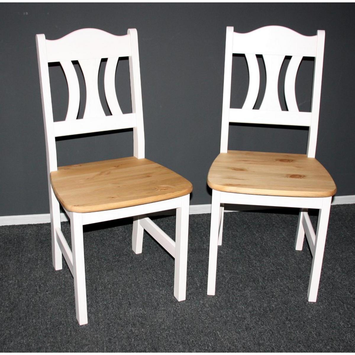 k chenstuhl stuhl set kiefer massiv 2 farbig wei gebeizt ge lt kristel. Black Bedroom Furniture Sets. Home Design Ideas