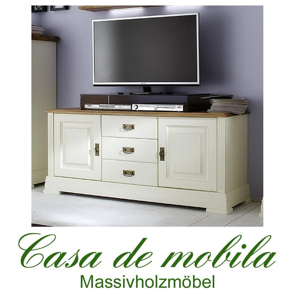 massivholz tv lowboard mit 3 schubladen nordic home kiefer. Black Bedroom Furniture Sets. Home Design Ideas