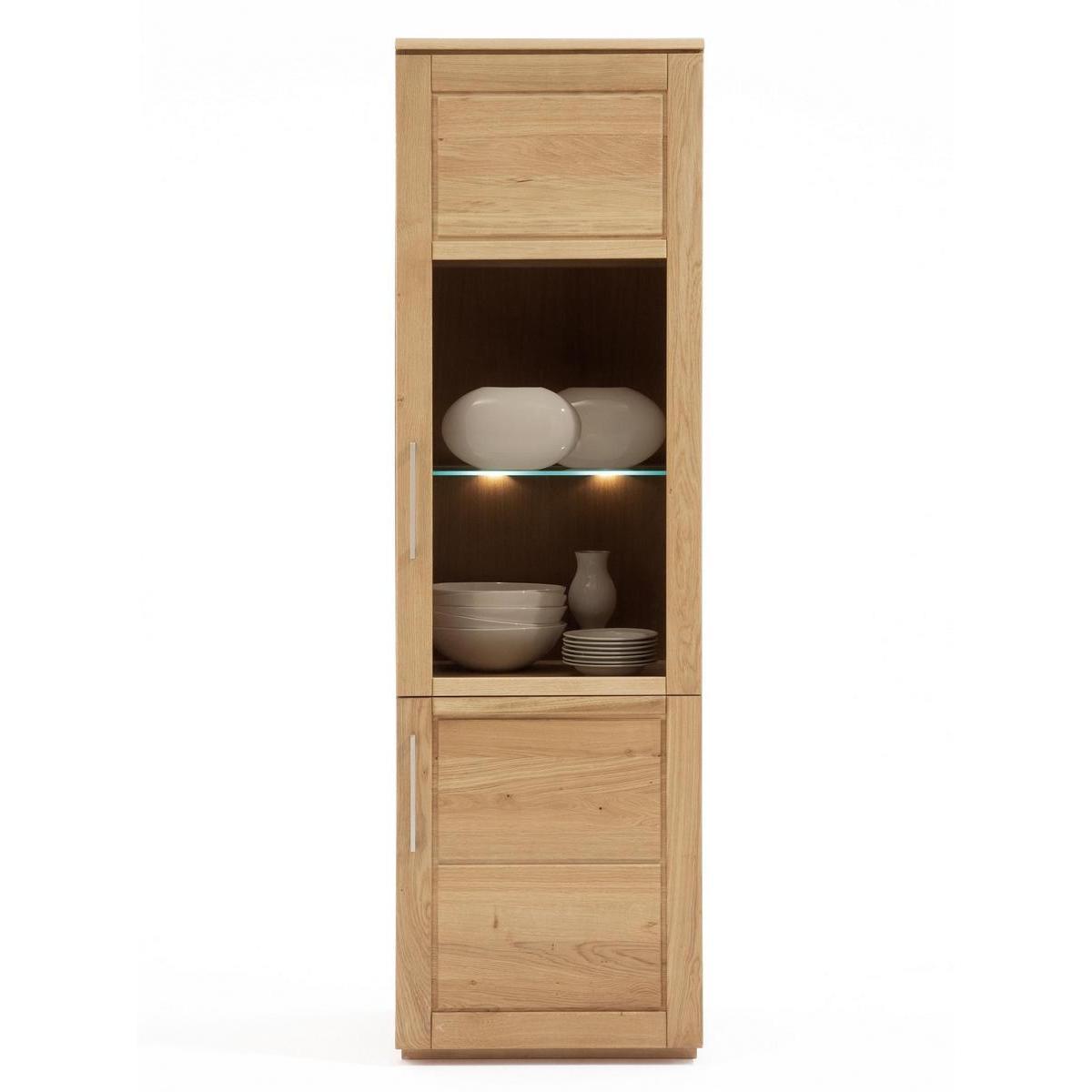 vitrine schmal hoch wildeiche massiv natur ge lt bio. Black Bedroom Furniture Sets. Home Design Ideas