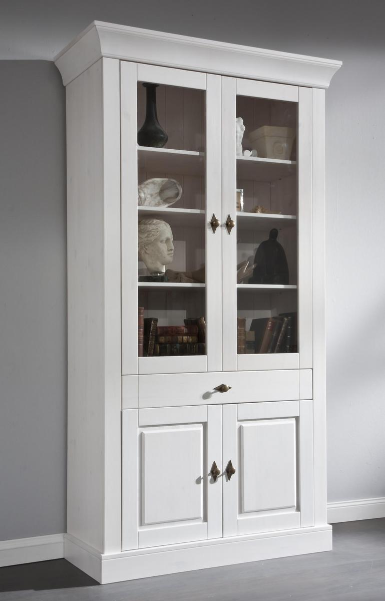 landhaus vitrine glasvitrine wei lackiert kiefer massiv bergen 2 t rig. Black Bedroom Furniture Sets. Home Design Ideas