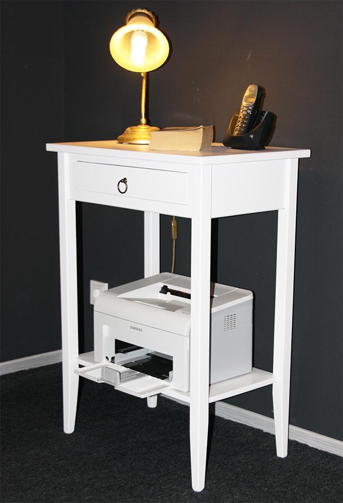 konsolentisch laptoptisch druckertisch telefontisch weiss lackiert pappel massiv. Black Bedroom Furniture Sets. Home Design Ideas