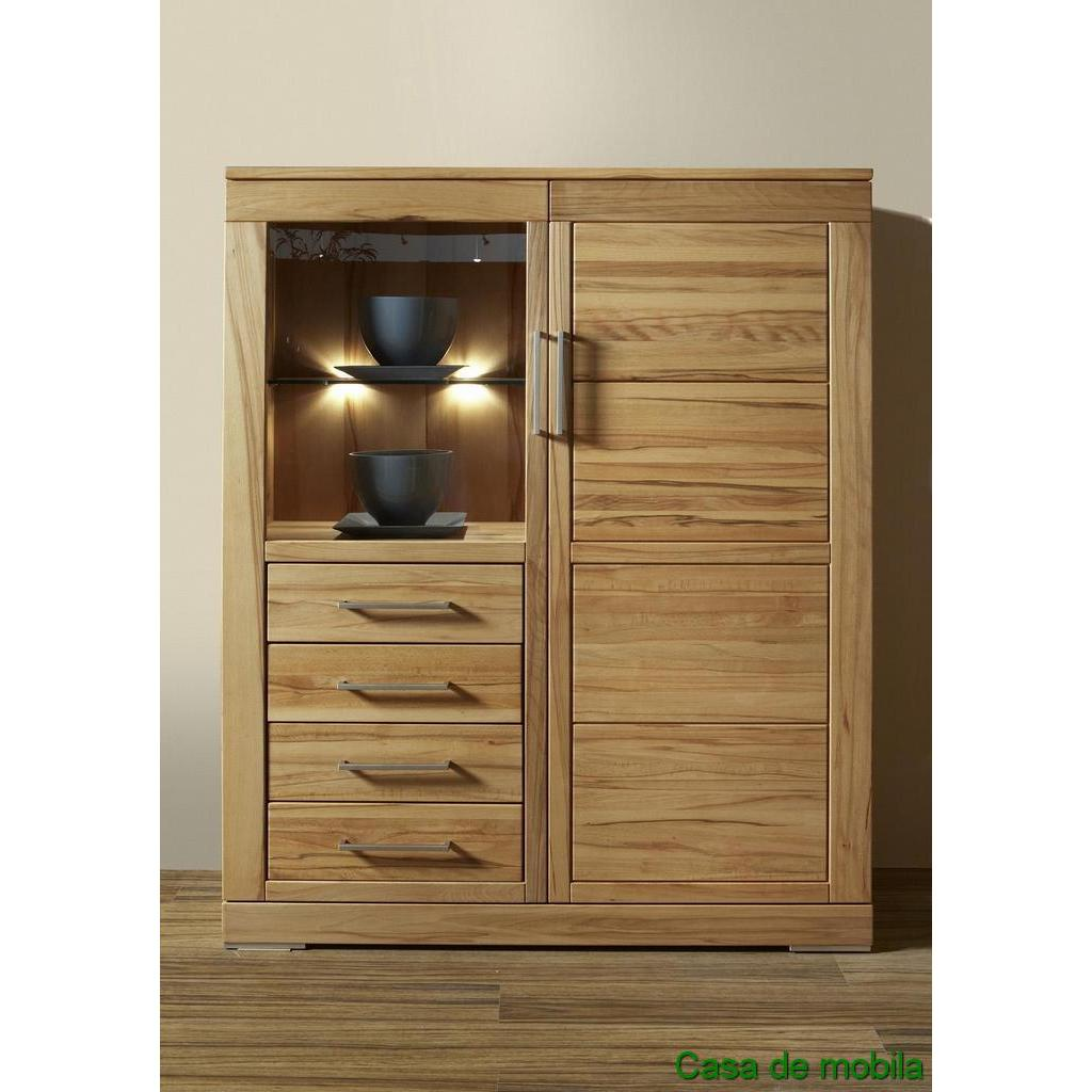 esszimmerschrank vitrinenschrank i kernbuche massiv natur ge lt casera. Black Bedroom Furniture Sets. Home Design Ideas