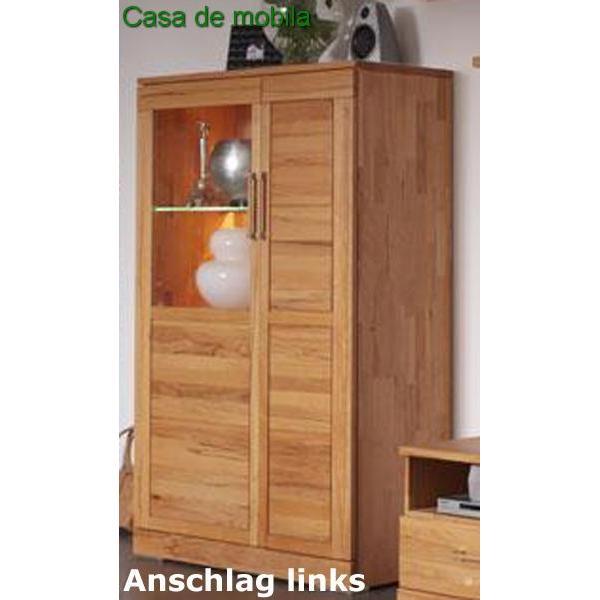wimmer wohnkollektion vitrinenschrank buche massiv natur ge lt casera schrank ii kernbuche. Black Bedroom Furniture Sets. Home Design Ideas