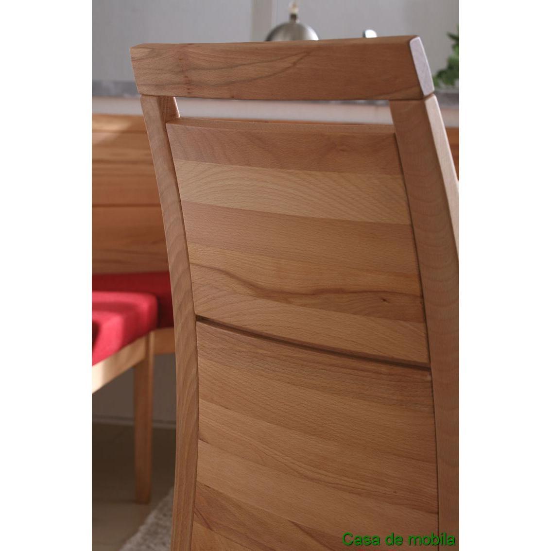 Wäschetruhe Holz Dunkelbraun ~ Armlehnstuhl mit Polster Rotkernbuche massiv natur geölt CASERA Stuhl