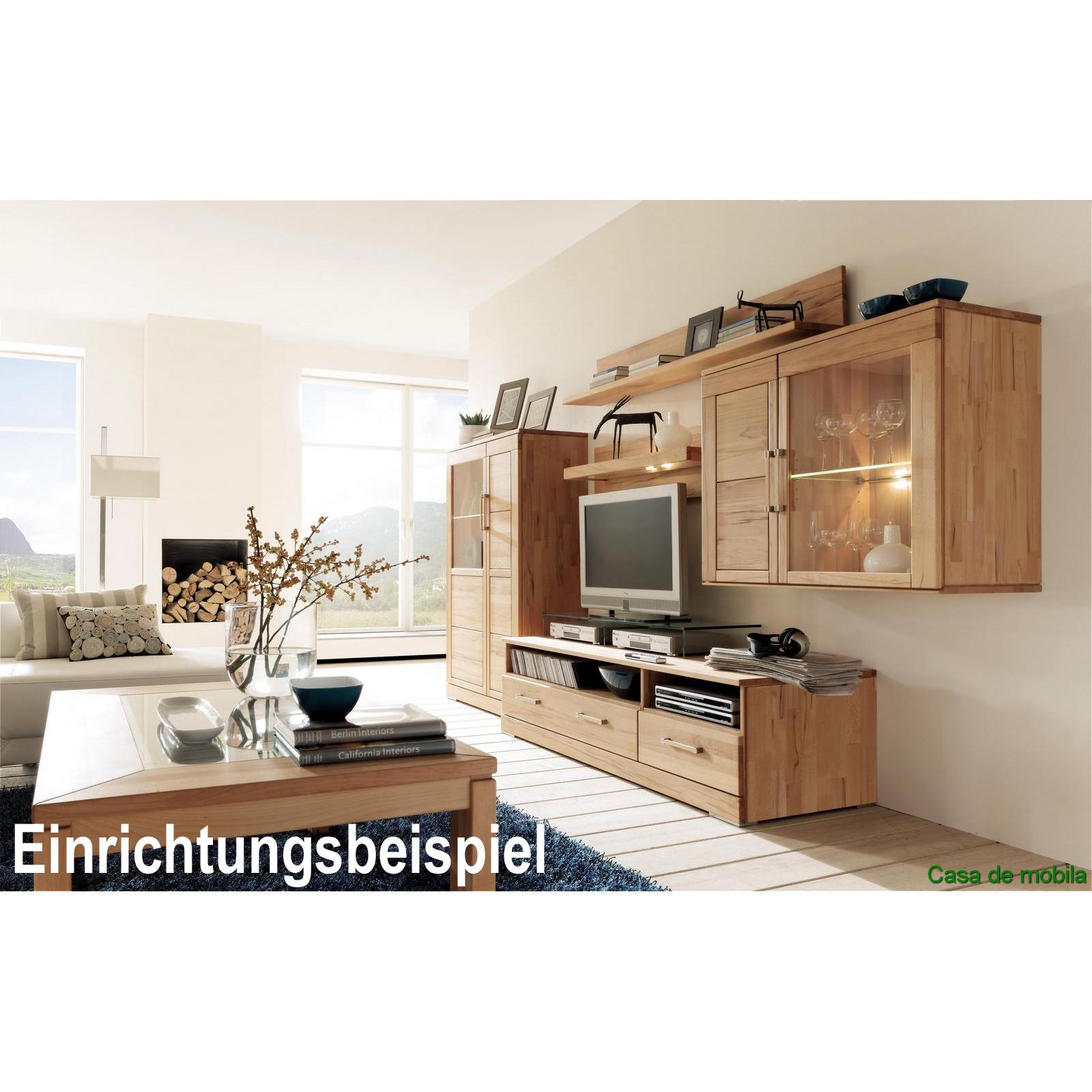 Massivholz TV-Lowboard Buche massiv natur geölt CASERA - TV-Board ...