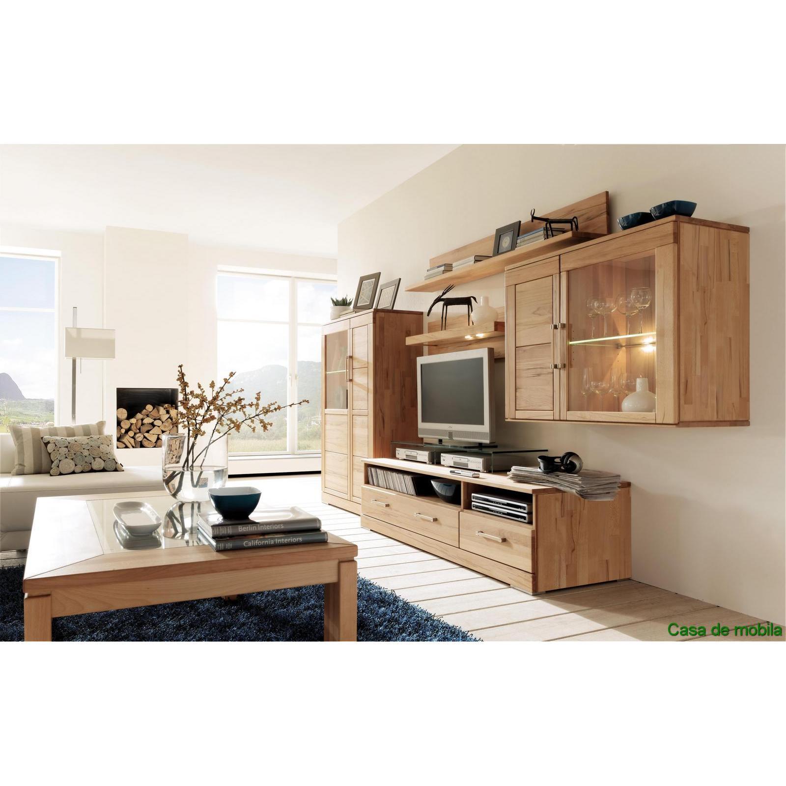 echtholz wohnwand wohnzimmer i rotkernbuche massiv natur. Black Bedroom Furniture Sets. Home Design Ideas