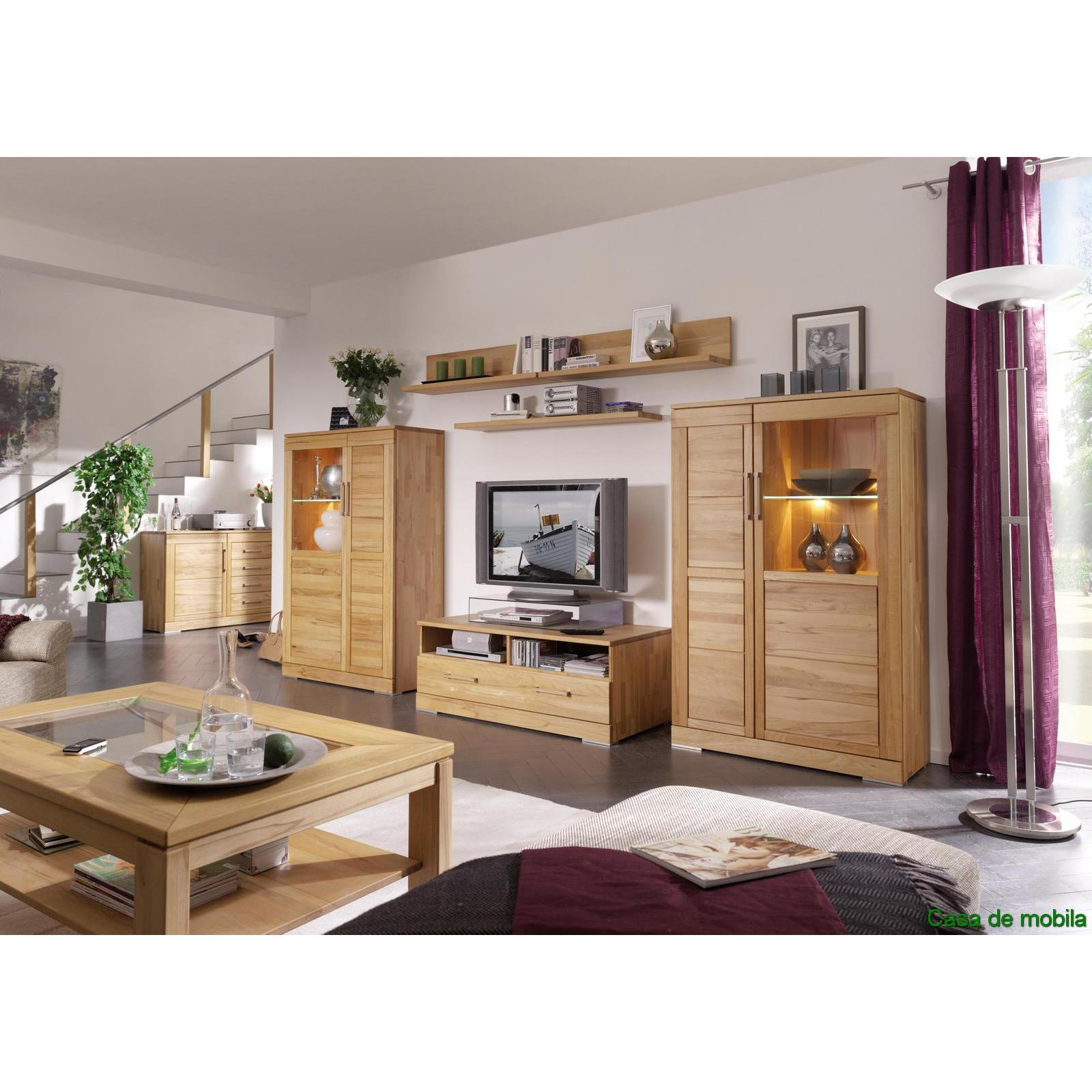 echtholz wohnwand wohnzimmerm bel rotkernbuche massiv natur ge lt casera. Black Bedroom Furniture Sets. Home Design Ideas