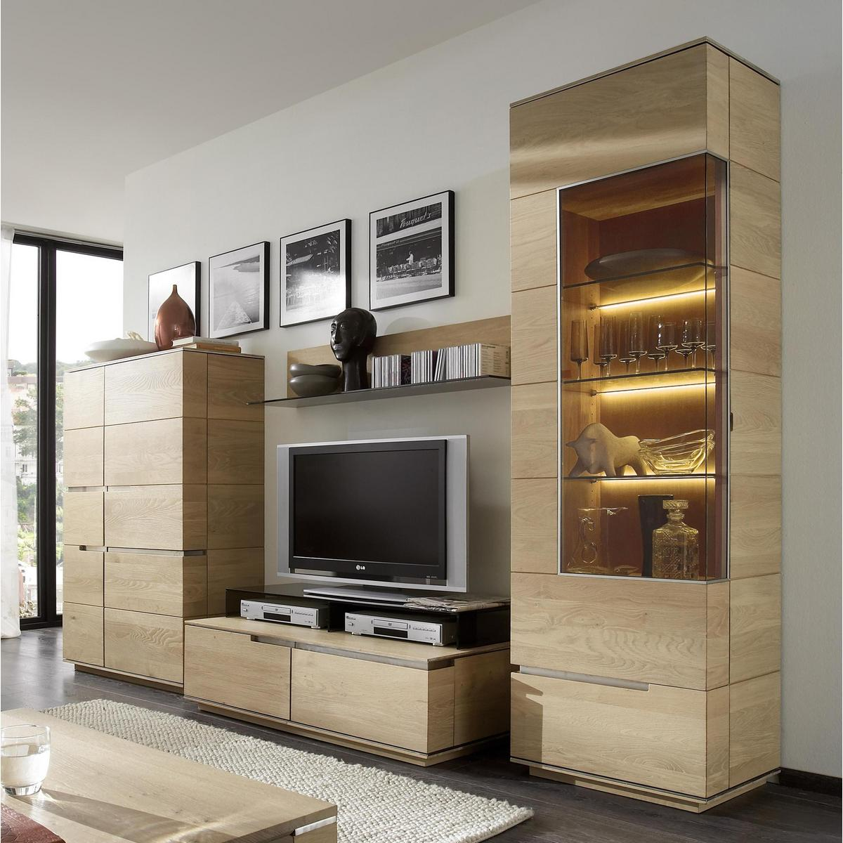 wohnzimmerm bel wohnwand wildeiche massiv geb rstet bianco ge lt acerro. Black Bedroom Furniture Sets. Home Design Ideas