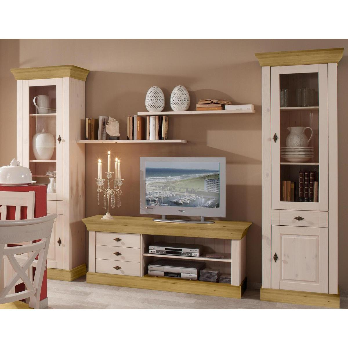 landhaus tv lowboard kiefer 2 farbig wei gebeizt ge lt. Black Bedroom Furniture Sets. Home Design Ideas