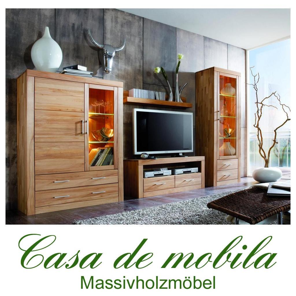 wohnzimmerschrank wohnwand kernbuche massiv holz ge lt. Black Bedroom Furniture Sets. Home Design Ideas