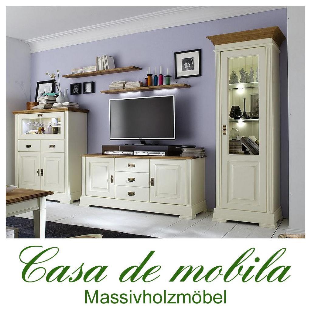 Massivholz wohnwand 5 teilig nordic home kiefer massiv weiß ...