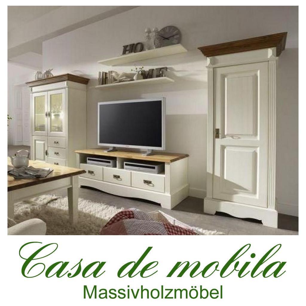 Massivholz Wohnwand Kiefer Massiv Weiss Honig Anbauwand Landhausstil Wohnzimmerschrank PARIS