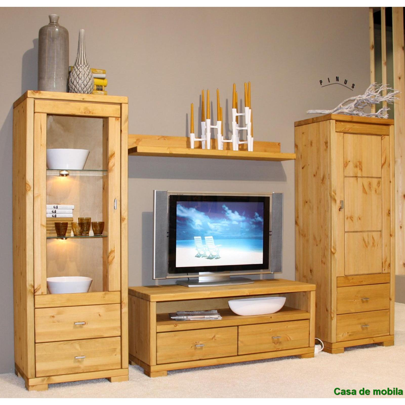 massivholz wohnwand gro kiefer massiv gebeizt ge lt. Black Bedroom Furniture Sets. Home Design Ideas