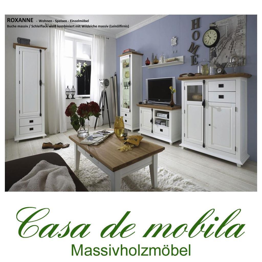 massivholz wohnzimmer-set 6-teilig buche wildeiche weiß teilmassiv ... - Wohnzimmer Komplett Weis
