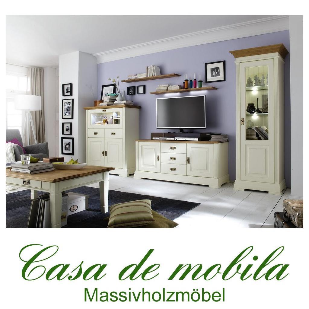 Massivholz Wohnzimmer 6-teilig NORDIC HOME Kiefer massiv weiß ...