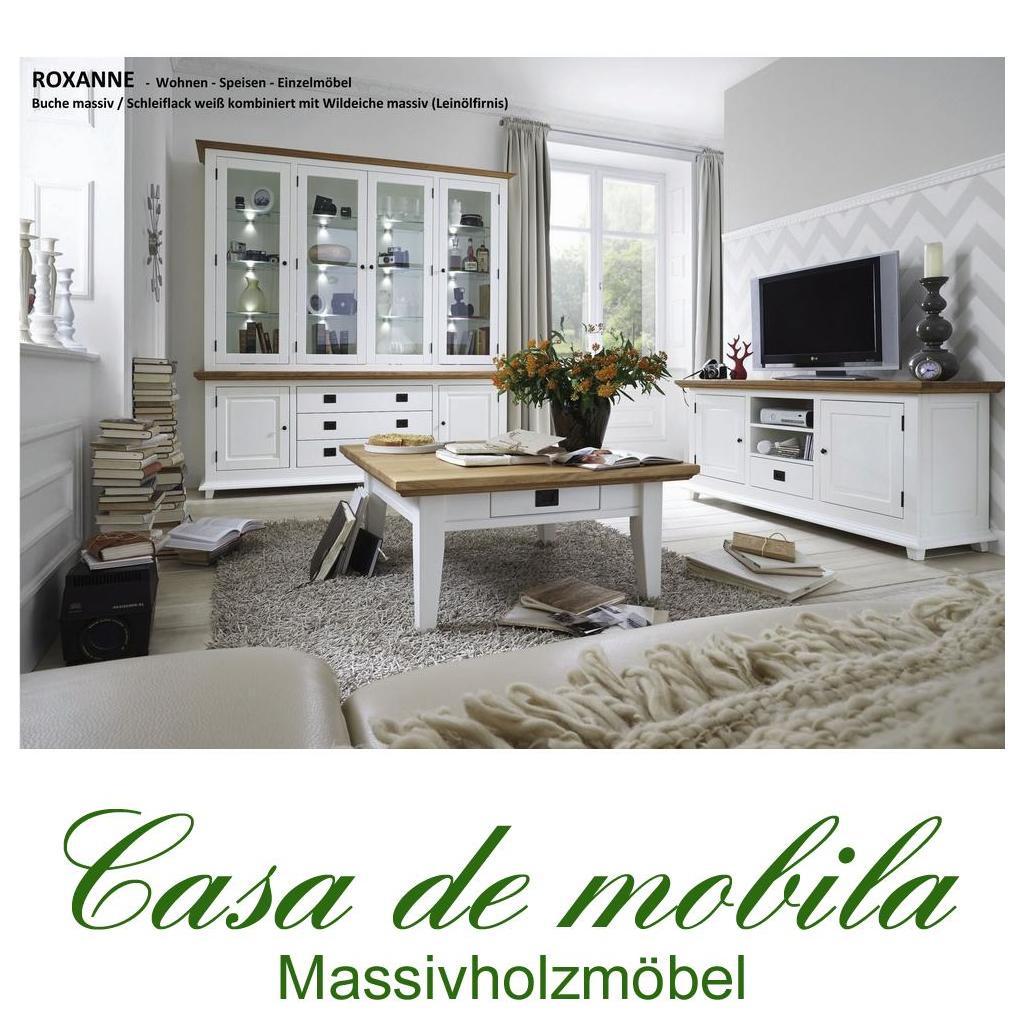 Wohnzimmer Komplett Schleiflack Weiß ROXANNE Buche Eiche   Wohnzimmer Set  3 Teilig Teilmassiv