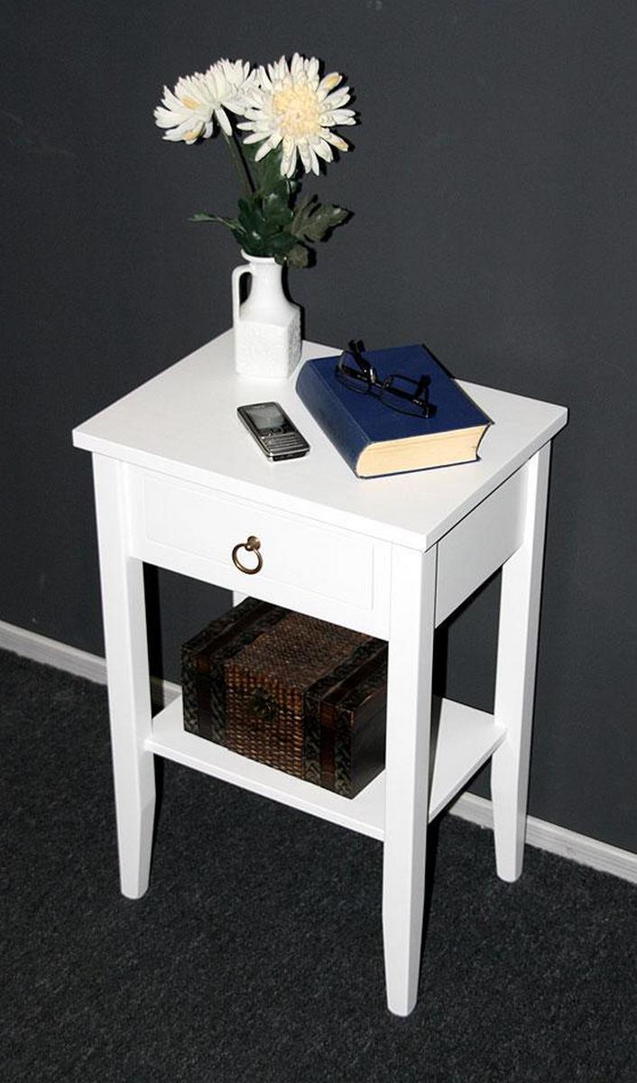 nachttisch nachtschrank nachtkonsole wei lackiert bei casa de mobila. Black Bedroom Furniture Sets. Home Design Ideas