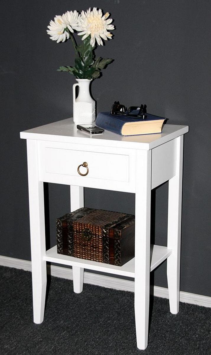 nachttisch nachtschrank nachtkonsole wei lackiert bei. Black Bedroom Furniture Sets. Home Design Ideas