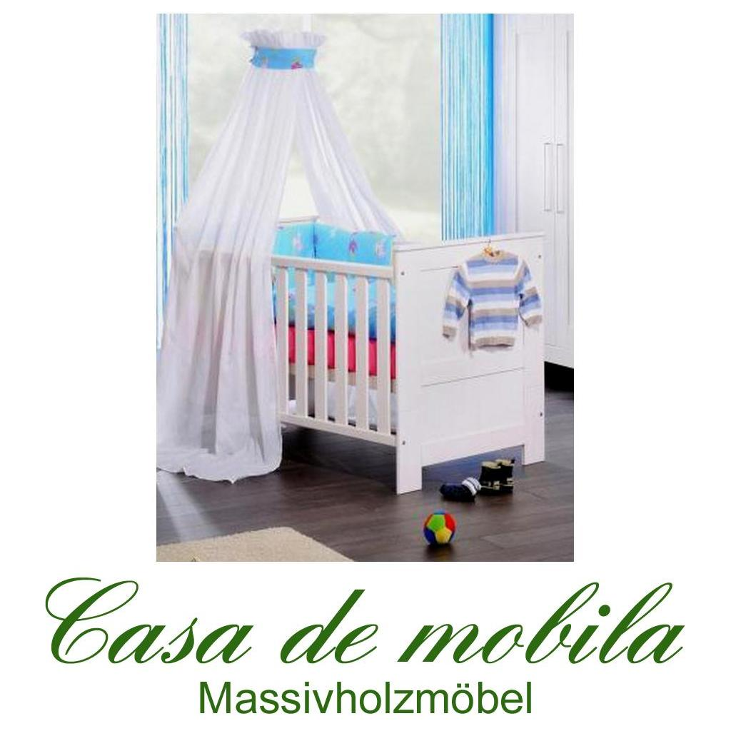 kinderbett babybett emma 140x70 cm kiefer massiv wei. Black Bedroom Furniture Sets. Home Design Ideas