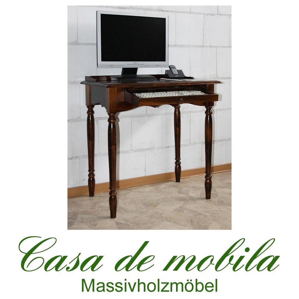 Schreibtisch PC Tisch kolonial braun nußbaum holz massiv bei Casa de ...