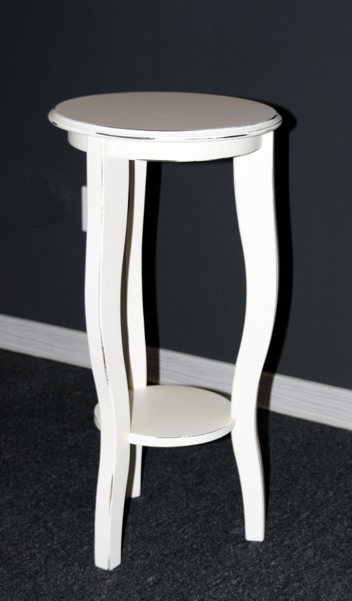blumenst nder blumenhocker blumentisch rund wei antik lackiert 60 cm. Black Bedroom Furniture Sets. Home Design Ideas
