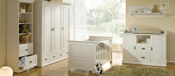 Kinderzimmermöbel set weiß  Babyzimmer Odette / Kiefer weiss lasiert