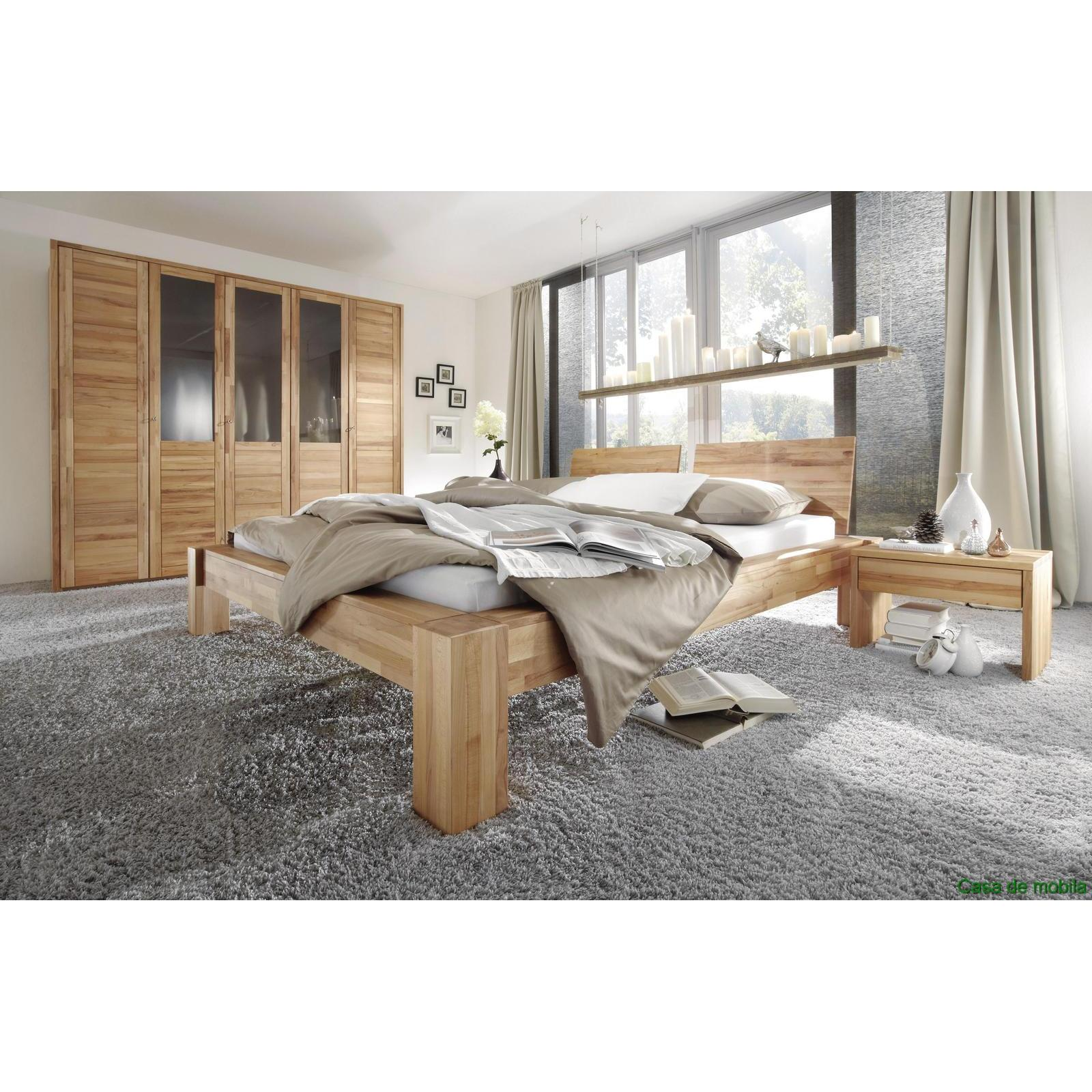 echtholz schlafzimmer komplett kernbuche massiv hercules bett 160x200. Black Bedroom Furniture Sets. Home Design Ideas
