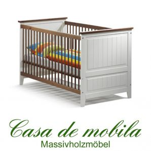 kinderbett babybett wei honig 140x70 massiv holz kiefer. Black Bedroom Furniture Sets. Home Design Ideas
