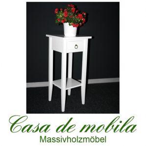 Massivholz Blumentisch Blumenhocker Blumenständer weiß 70 cm DECOR