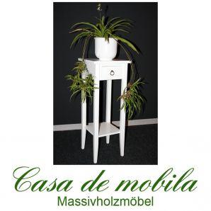 Massivholz Blumentisch Blumenhocker Blumenständer weiß 80 cm DECOR