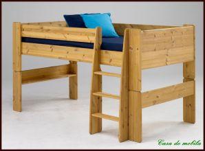 Hochbett klein 90x200 For Kids - Holz Kiefer massiv gelaugt geölt