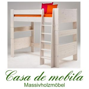 Massivholz Hochbett weiss 90x200 For Kids - Holz Kiefer massiv weiß