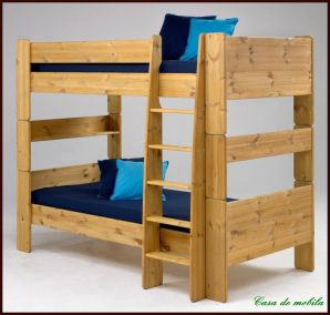 Etagenbett 90x200 For Kids - Holz Kiefer massiv gelaugt geölt