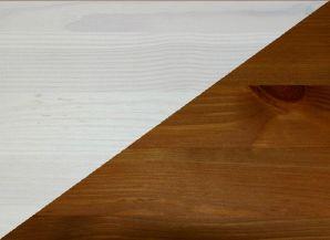 Vollholz Vitrine mit Glastür groß Guldborg - Holz Kiefer massiv 2-farbig weiß lasiert provance lackiert