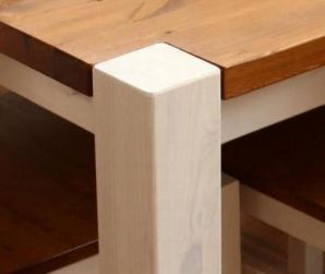 Vollholz Sitzbank Bank 160 cm Guldborg - Holz Kiefer massiv 2-farbig: weiß lasiert / provance lackiert