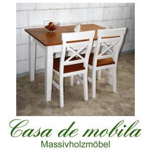 Esstisch küchentisch landhausstil 160x90 Fjord - Holz Kiefer massiv 2-farbig weiß / bernsteinfarben lackiert