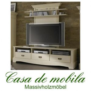 tv lowboard mit wandpaneel champagner lackiert paris kiefer massiv. Black Bedroom Furniture Sets. Home Design Ideas
