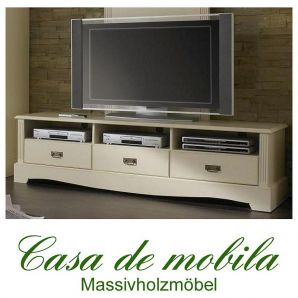 Massivholz TV-Lowboard Kiefer massiv cremeweiß TV Kommode TV Schrank PARIS groß Vintage, champagner