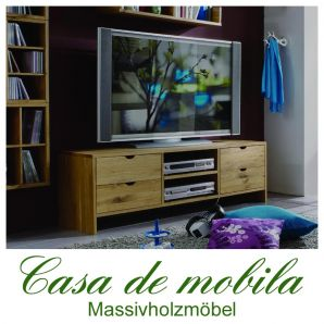 Massivholz TV-Lowboard TV Kommode Eiche massiv geölt Wildeiche TAKE IT!