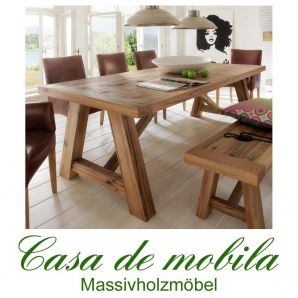 Tisch Balkeneiche massiv mit Wuchsrissen Unikate 220x100 Firenze geölt