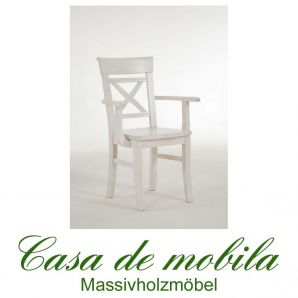 Stuhl mit Armlehne landhausstil weiß Armlehnstuhl Armlehnenstuhl Kiefer massiv lackiert Fjord