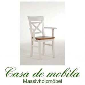 Stuhl mit Armlehne landhausstil weiß bernsteinfarben Armlehnstuhl Armlehnenstuhl Kiefer massiv Fjord