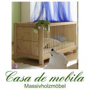 Massivholz Babybett Gitterbett Kinderbett Kiefer massiv GULDBORG - gelaugt/geölt