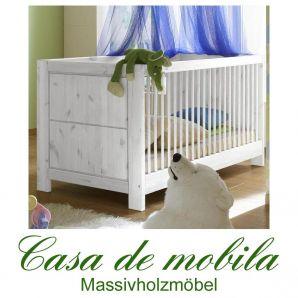 Massivholz Babybett Juniorbett Kiefer massiv weiss Kinderbett GULDBORG Gitterbett weiß lasiert