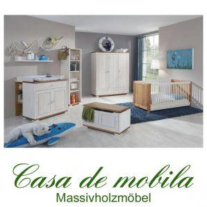 Massivholz Babymöbel Kinderzimmer komplett 7teilig Kiefer massiv Naturholz GULDBORG weiß gelaugt