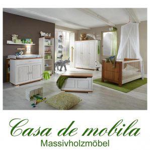 Massivholz Babymöbel Kinderzimmer komplett 7teilig Kiefer massiv Naturholz GULDBORG weiß honig