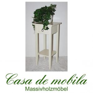 Massivholz Blumentisch Blumenhocker Blumenständer cremeweiß 60 cm DECOR